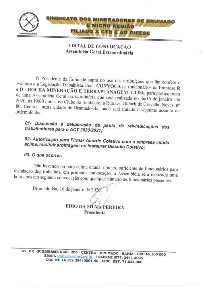 Edital de Convocação - Assembléia Geral Extraordinária - R E D Rocha Mineração e Terraplanagem LTDA