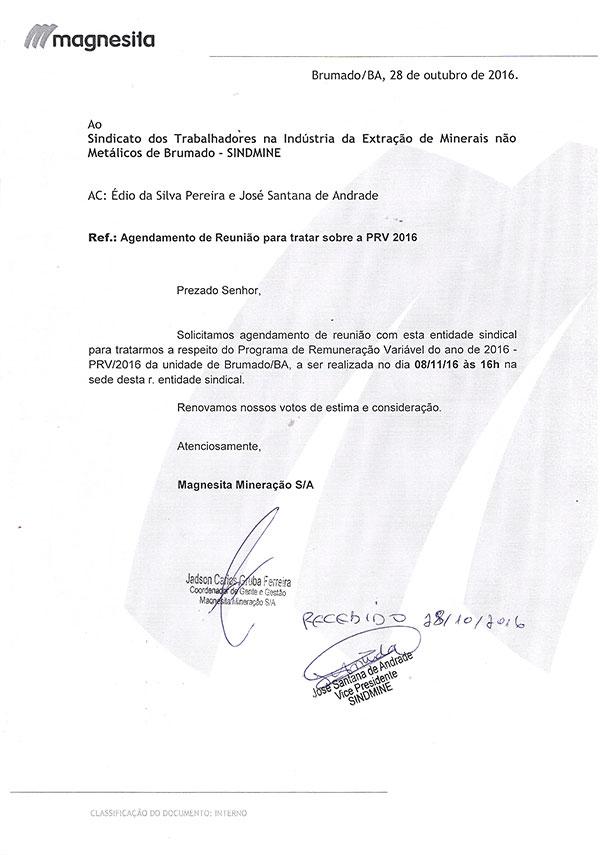 Magnesita Mineração S/A - Agendamento de reunião para tratar sobre a PRV 2016