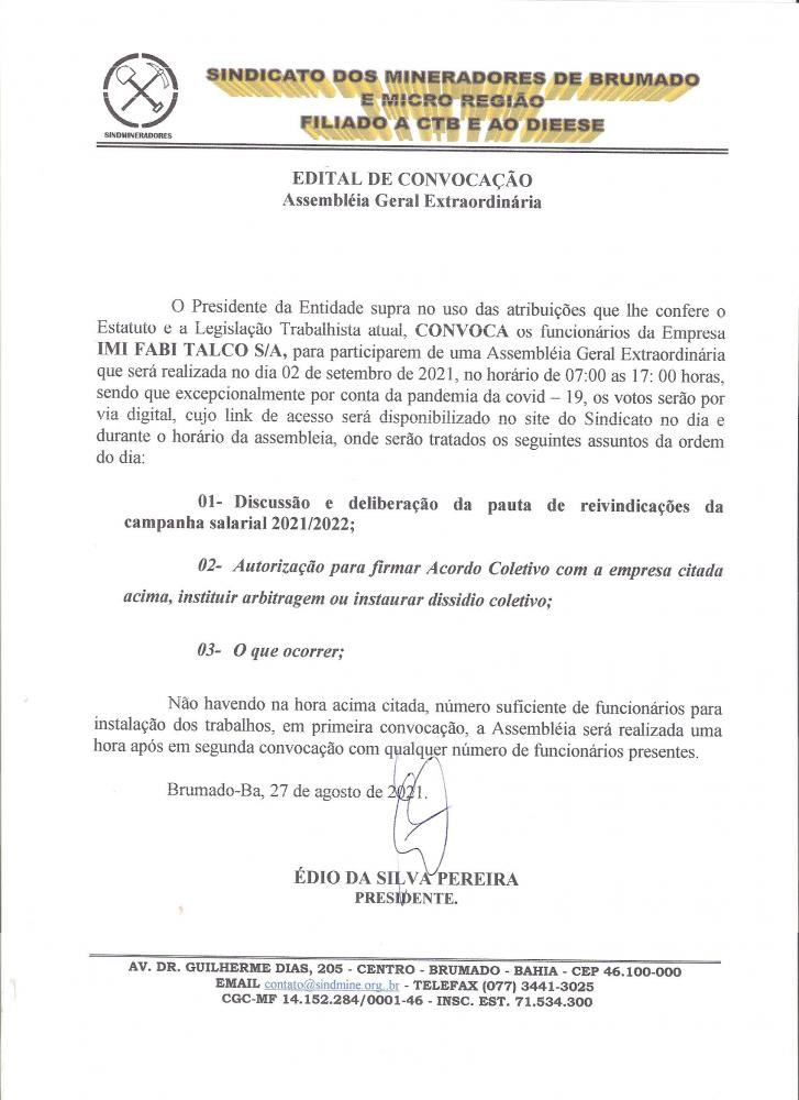 Edital de Convocação - Assembléia Geral Extraordinária - IMI Fabi Talco S/A