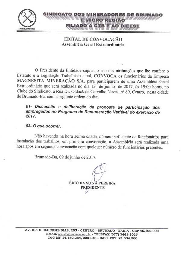Edital de Convocação - Assembléia Geral Extraordinária - Magnesita Mineração S/A