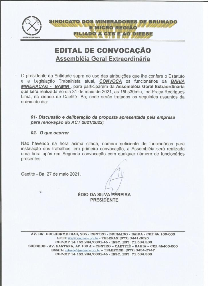 Edital de Convocação - Assembléia Geral Extraordinária - Bahia Mineração - BAMIN
