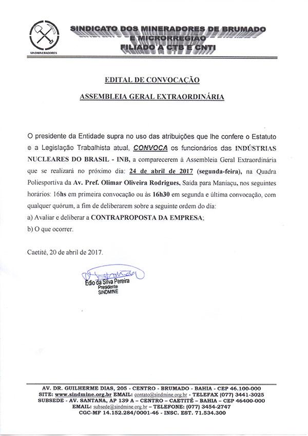 Edital de Convocação - Assembléia Geral Extraordinária - Indústria Nucleares do Brasil S.A - INB