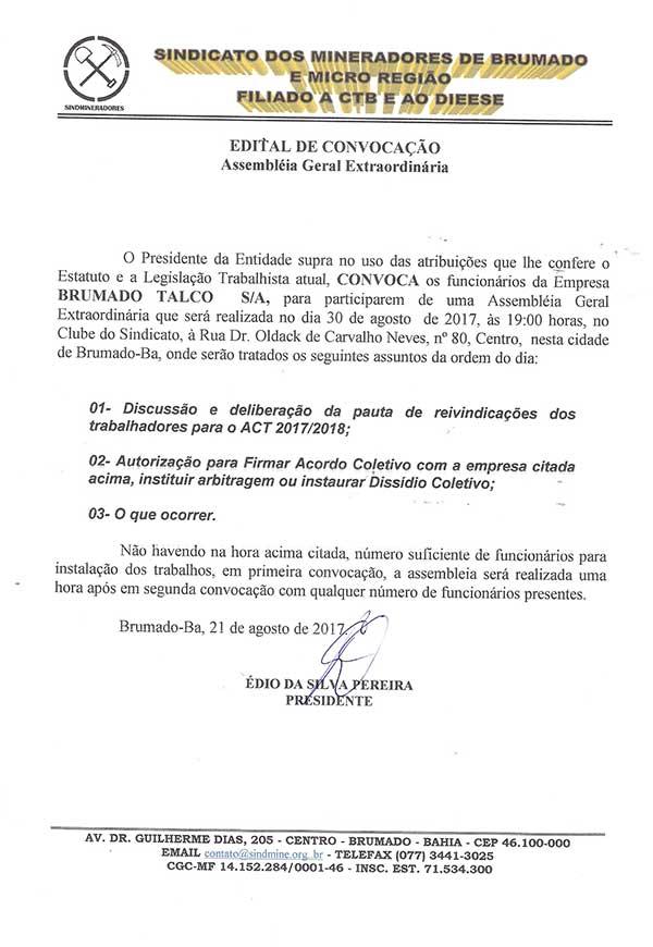 Edital de Convocação - Assembléia Geral Extraordinária - Brumado Talco S/A