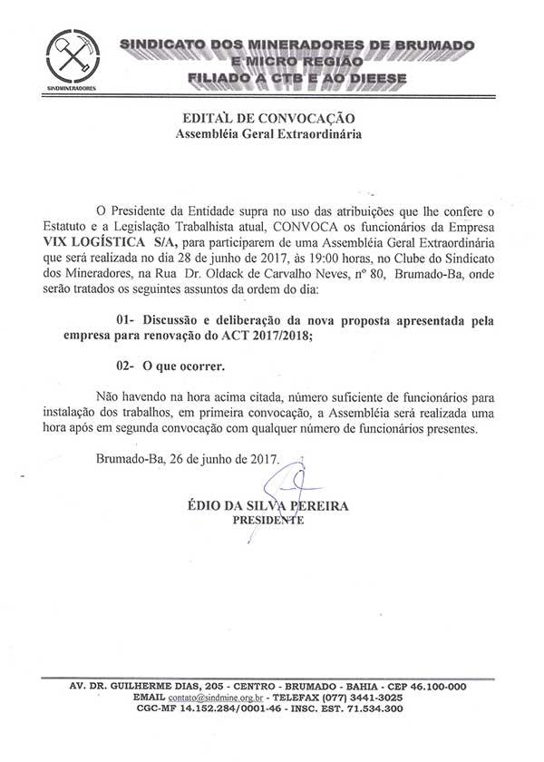 Assembléia Geral Extraordinária - Vix Logística S/A
