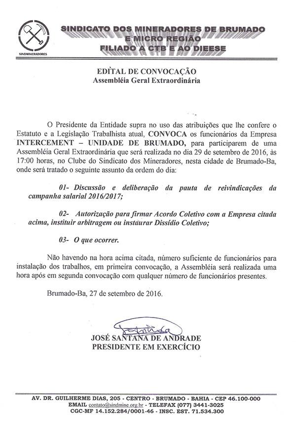 Edital de Convocação - Assembléia Geral Extraordinária - INTERCEMENT - Unidade de Brumado
