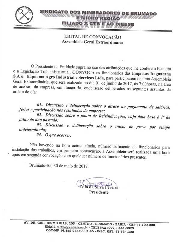 Edital de Convocação - Assembléia Geral Extraordinária - Itaquarana S.A e Itapoama Agroindustrial e Serviços LTDA