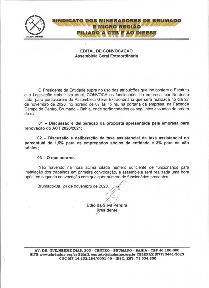 Edital de Convocação - Assembléia Geral Extraordinária - Ibar Nordeste LTDA