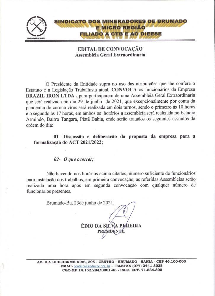 Edital de Convocação - Assembléia Geral Extraordinária - Brasil Iron LTDA