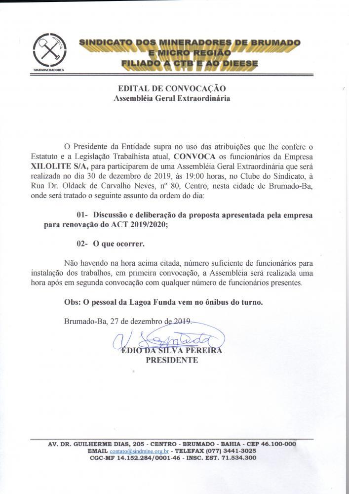 Edital de Convocação - Assembléia Geral Extraordinária - Xilolite S/A
