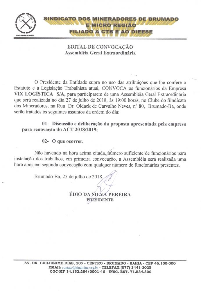 Edital de Convocação - Assembléia Geral Extraordinária - Vix Logística S/A