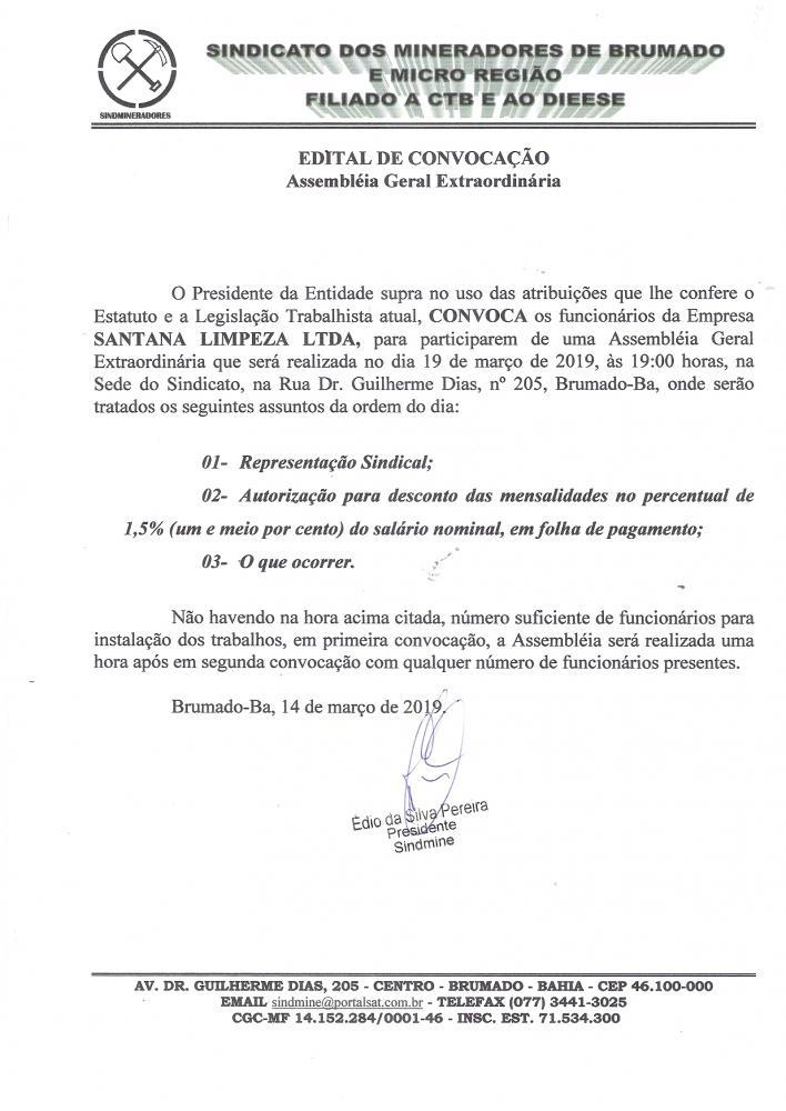 Edital de Convocação - Assembléia Geral Extraordinária - Santana Limpeza LTDA