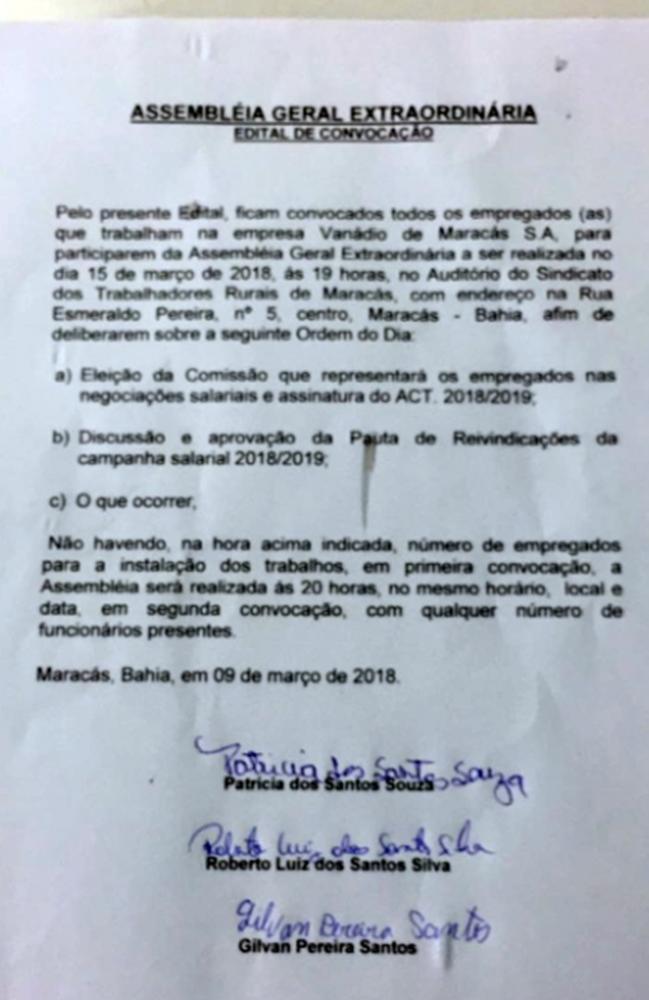 ASSEMBLÉIA GERAL EXTRAORDINÁRIA:  EDITAL DE CONVOCAÇÃO