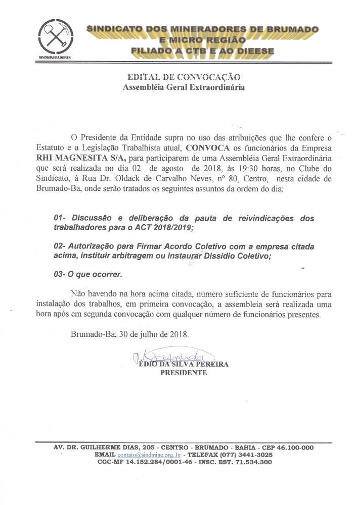 Edital de Convocação - Assembléia Geral Extraordinária - RHI Magnesita S/A