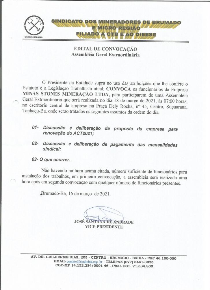 Edital de Convocação - Assembléia Geral Extraordinária - Minas Stones Mineração LTDA